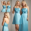 AL1227 Long/short blue elegant satin bridesmaid dress