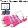 Wool Touch Screen Gloves /Jacquard Ethnic Customs Thicken 5 Point Wool Touch Screen Gloves for Tablet PC/iPhone/iPad/HTC/Samsung