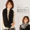 women's new knitted rabbit furs long shawl scarf neck warmer