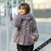 2012 LICCICO Hot women fox fur collar real mink fur jacket & Genuine Rabbit Fur Coat #81201-A-1