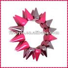 2012 New Fashion Rose Frost One Row Punk Style Spike Hedgehog Rivet Bracelet, Hot Sale Stretch Adjustable Rivet Spike Bracelet