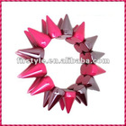 2012 New Fashion Rose Frost One Row Punk Style Spike Hedgehog Rivet Bracelet, Hot Sale Stretch Adjustable Rivet Spike Bracelet