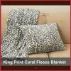 100%polyester finish edge king printed coral fleece blanket