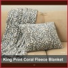 100%polyester finish edge king printed coral fleece blanket