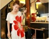 red flowers printing t-shirt like dress with girdle on the waist
