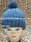 women 100%acrylic and metallic yarn Knitted rib beanies with floccule