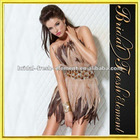 Fashionable Beaded Waist Cocktail Dress With Feathers