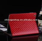 Fashion rhombus pattern PU leather case for new iPad 3