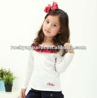 100% cotton children ruffle long sleeves t-shirt