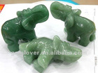 CVL034Green aventurine gemstone beads elephant with an upturned nose carvings 2.5 inch