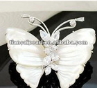Free shipping!!!! Gentleness sweet mother pearl crystal butterfly brooch