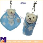 unique super soft cute hanging stuffed bear keychain