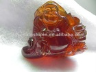 Precious Jewelry Lucky Buddha Carved Red Brown Burmite Amber Carved Decoration