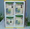 Set of 4, ceramic storage canister, food canister, ceramic jar