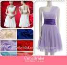 Custom Made Simple Design Knee Length Chiffon Bridesmaid Dress One Shoulder Short Party Dress Patterns