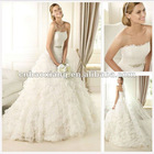 Quality Strapless Scalloped-Edge Court Train Organza Wedding Dresses In Dubai HS1260