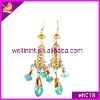 fashion blue rhinestones with metal base earrings