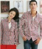 2012 style fashion red white and blue check 100 cotton couple shirt