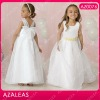 AZ0076 Bow back Sash Floor length Round Neck Ball Gown Organza Girls Party Dresses