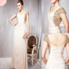 Luxury Off-White Heavily Gold and Silver Accented Long bling bling cocktail Dress