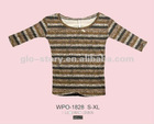 fashion stripe printed t shirt for lady 100% cotton