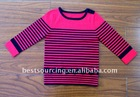 kids autumn knitwear viscose polyester 12gg knitted children sweater girl's stripe pullover with shoulder buttons BS-1001