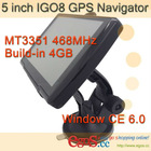 5 inch GPS +FM+A-Vin+Bluetooth+468MHZ with free Update Igo8 China GPS Navigator