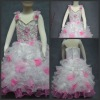 Hot Sale Two-shoulder Organza White &Pink Latest Party Wear Dresses for Girls