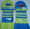 Piston cars knitted set ---- hat and scarf with pvc and embroidery