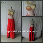 Charming colorful beaded one shoulder red chiffon real sample evening dress