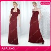AZ0576 Sweetheart Handmade Flower Ruffle Floor-length Ruffle Red Chiffon mother of the bride dresses 2012