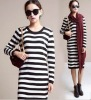 ek0102 Korean Style Long Sleeve Loose Striped Cotton Knitted Dress