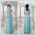 Unique Design Jewel Neck One Cap Sleeves with Beads Pleats Flowers Attractive Elegant Chiffon Long Evening Prom Dress ED-B116