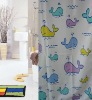 100% polyester and hookless shower curtain with best price for home