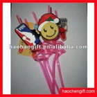 cute face pvc art pp drinking straw
