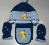 Lucho fleece set ---- hat and gloves and scarf with embroidery