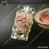 Flower design with pearl stud phone case for iPhone4 4S SH-MPC0057