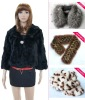 Ladies' fashion black split rabbit fur jacket