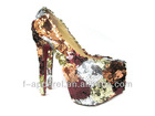 Sexy leopard high heels flossy pumps party shoes women