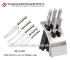 5 pcs stainless steel kitchen knife set on SS block