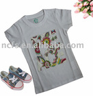 White kids t-shirt, 100 cotton t-shirt with nice print for Chili market