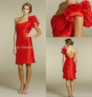 One Pleated Shoulder A-line Short Low Back Short Hot Pink Bridesmaid Dresses