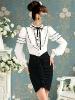 White bowknot palace hubble-bubble long sleeve white blouse #95