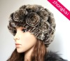 Hot sale lady fashion rex rabbit fur winter hat with disc flowers