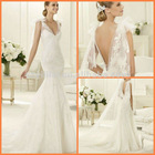 Free Shipping 2013 New Satin V-neck Lace Fishtail Wedding Dresses JYWD0567