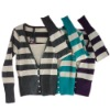 Women's Single Jersey Cross Stripe Fake 2 Pieces Blouse