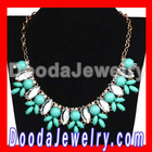 Turquoise Resin Rhinestone Crystal Marquess Fleur Flower Choker Bib Necklaces Wholesale JW0076-3