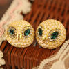 Europe and America the retro jewelry personality head tilt diamond shinning enamel owl earrings