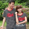 100%cotton horizontal stripe short sleeve couple tee shirt &shirts
