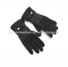Men's fashion combination dress glove with belt wrist gentled gloves combined with knitwear and leather